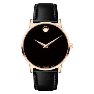 腕時計 モバード メンズ 0607315 Movado 0607315 Rose Gold Museum Classic Black Leather Men's Watch|maniacs-shop