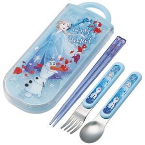 食洗機対応スライド式トリオセット(名入れスペース付お箸) 【エルサ/オラフ】|maniacs-shop