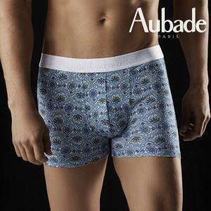 【S】サイズ Aubade メンズボクサーパンツ  OMBRE Persane ☆フランス オーバドゥ ☆ブルーのタイル模様がキュートなボクサー |manifica