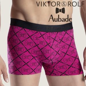【M】サイズ Viktor&Rolf x Aubade メンズボクサーパンツ ☆フランス ヴィクター&ロルフ コラボ ☆ボウ リボンの男性下着 ピンク|manifica
