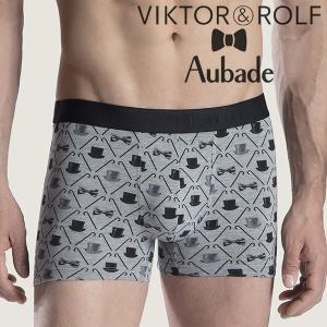 【M】サイズ Viktor&Rolf x Aubade メンズボクサーパンツ ☆フランス ヴィクター&ロルフ コラボ ☆リボンとシルクハットの男性下着 グレー|manifica