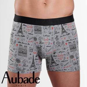 【M】サイズ Aubade メンズボクサーパンツ  Pari ☆フランス オーバドゥ ☆愛の街、パリの魅力を描いたメンズボクサー 男性下着|manifica