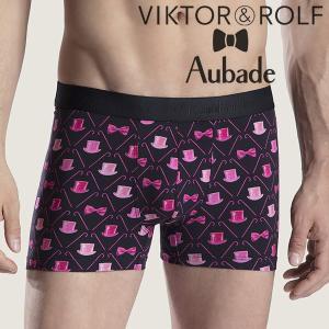 【M】サイズ Viktor&Rolf x Aubade メンズボクサーパンツ ☆フランス ヴィクター&ロルフ コラボ ☆リボンとシルクハットの男性下着 ブラック|manifica
