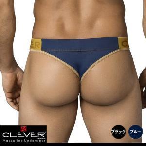 【M】【L】サイズ  マイクロファイバー メンズストリング(Tバック)☆CLEVER(クレバー) ☆Exclusive Thong ブルー・ブラック|manifica