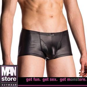 【M】サイズ 合皮×パンチング メンズボクサーパンツ ブラック☆ドイツ製 MANSTORE(マンストア)☆M700シリーズ ☆Bungee Pants Black|manifica