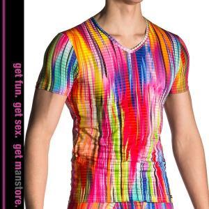 【M】サイズ レインボー メンズTシャツ ☆ドイツ製 MANSTORE(マンストア)☆M704☆Vネック インナー 透ける男性下着|manifica