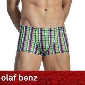 【M】サイズ スケルトンチェック メンズボクサーパンツ ☆ドイツ製 OLAF BENZ(オラフベンツ)☆RED1526 ☆Minipants Rainbow|manifica