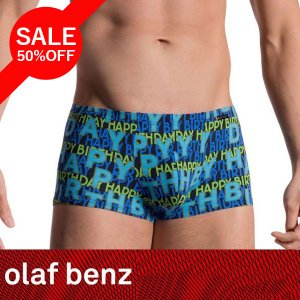 【M】サイズ Happy Birthday! メンズボクサーパンツ☆ドイツ製 OLAF BENZ(オラフベンツ)☆RED1608 ☆Minipants 誕生日パンツ 青 ブルー manifica