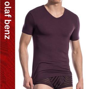 【M】サイズ ボーダー モダールメンズTシャツ☆ドイツ製 OLAF BENZ(オラフベンツ)☆RED1609シリーズ☆V-Neck 男性肌着インナー プラム|manifica