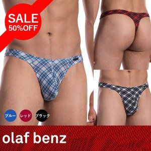 【S】【M】【L】サイズ シェパードチェック メンズストリング(黒・赤・青)☆ドイツ製 OLAF BENZ(オラフベンツ)☆RED1616 ☆Ministring 男性用Tバック|manifica