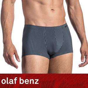 【M】サイズ コットンストライプ メンズボクサーパンツ☆ドイツ製 OLAF BENZ(オラフベンツ)☆RED1671 ☆Minipants 男性下着 グレー|manifica