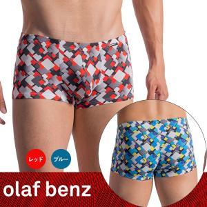 【M】サイズ ジオメトリック ボクサーパンツ(ブルー・レッド)☆ドイツ製 OLAF BENZ(オラフベンツ)☆RED1768 ☆Minipants マイクロファイバー男性下着|manifica