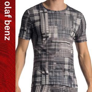 【M】サイズ スケルトンチェック メンズTシャツ☆ドイツ製 OLAF BENZ(オラフベンツ)☆RED1772☆T-Shirts 男性肌着|manifica