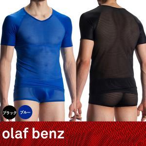【M】サイズ 透けるボーダー Vネック メンズTシャツ(ブラック・ブルー)☆ドイツ製 OLAF BENZ(オラフベンツ)☆RED1913☆男性下着 肌着 インナー|manifica