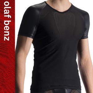 【M】サイズ サテン&メッシュ メンズTシャツ ブラック☆ドイツ製 OLAF BENZ(オラフベンツ)☆RED1914☆Vネックインナー 男性肌着|manifica