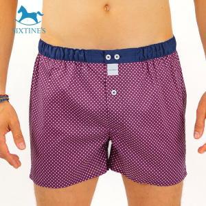 【M】サイズ 水玉 コットントランクス☆ベルギーブランド SIXTINE'S☆プレゼントにも。 ALEXANDRA  さらっと薄手の綿パンツ 男性下着 あずき色|manifica