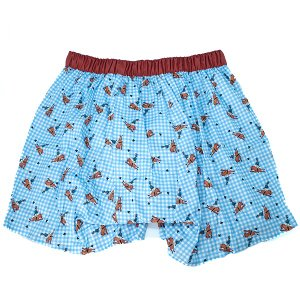【S】【M】【L】サイズ 乗馬&チェック コットントランクス☆ベルギーブランド SIXTINE'S☆プレゼントにも AURELIA 薄手の綿パンツ 男性下着 ブルー|manifica|02