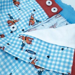 【S】【M】【L】サイズ 乗馬&チェック コットントランクス☆ベルギーブランド SIXTINE'S☆プレゼントにも AURELIA 薄手の綿パンツ 男性下着 ブルー|manifica|03