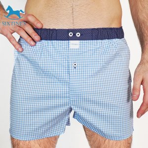【S】【M】【L】サイズ ブルーチェック コットントランクス☆SIXTINE'S☆プレゼントにも。CHARLOTT 薄手の綿パンツ男性下着 水色|manifica