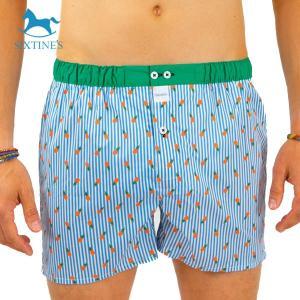 【S】【M】【L】サイズ パイナップル&ストライプ コットントランクス☆SIXTINE'S☆プレゼントにも DIANE 薄手の綿パンツ男性下着 ブルー|manifica
