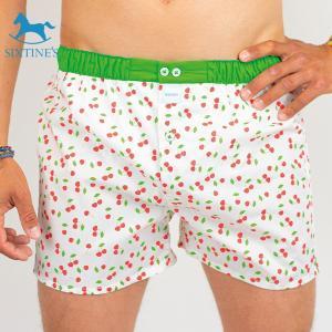 【XL】サイズ チェリー コットントランクス☆SIXTINE'S☆プレゼントにも。EMILY 薄手の綿パンツ男性下着 ホワイトに赤いサクランボ|manifica