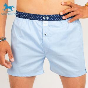 【S】【L】サイズ ブルー コットントランクス☆SIXTINE'S☆プレゼントにも。JULIE 薄手の綿パンツ男性下着 青|manifica