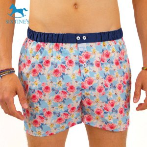 【S】【M】【L】サイズ 花柄 コットントランクス☆ベルギーブランド SIXTINE'S☆プレゼントにも。 LAURENCE  さらっと薄手の綿パンツ 男性下着 ブルー|manifica