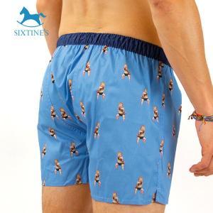 【S】【M】【L】サイズ ベイビーボクサー コットントランクス☆ベルギーブランド SIXTINE'S☆プレゼントにも LUCILLE 薄手の綿パンツ 男性下着 ブルー|manifica