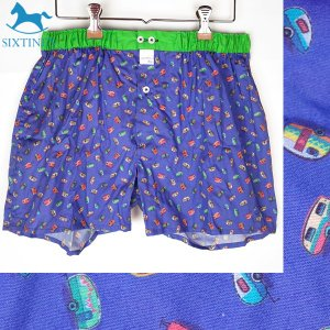 【M】サイズ コットン100% ブルー トランクス☆ベルギー製 SIXTINE'S☆ルームウェアやプレゼントにも。 MANON  さらっと薄手の男性下着|manifica