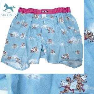 【S】【M】【L】サイズ 天使のコットントランクス☆ベルギーブランド SIXTINE'S☆プレゼントにも。 VIRGINIE  さらっと薄手の綿パンツ 男性下着 青空|manifica