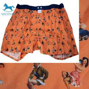 【M】サイズ フィフティーズ コットントランクス☆ベルギーブランド SIXTINE'S☆プレゼントにも。 YSA  さらっと薄手の綿パンツ 男性下着 オレンジ|manifica