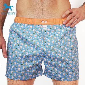 【S】【M】【L】サイズ 桜 コットントランクス☆SIXTINE'S☆プレゼントにも。ZOE 薄手の綿パンツ男性下着 花柄ブルー|manifica