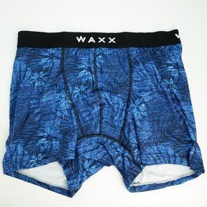 【M】サイズ ボタニカル ボクサーパンツ☆フランス☆WAXX(ワックス)アンダーウェア☆TROPIC メンズボクサー 男性下着 ブルー|manifica