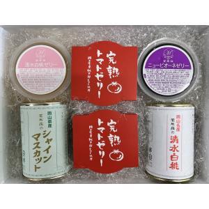 Cセット(マスカット缶、清水白桃缶、完熟トマトゼリー、清水白桃ゼリー、ピオーネゼリー) |mankasou