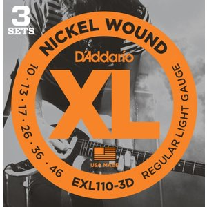 D'Addario ダダリオ エレキギター弦 ニッケル Regular Light .010-.046 EXL110-3D 3set入りパック 【国内正規品】|manmandougakki