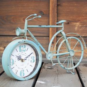 レトロな雰囲気の自転車の置き時計です  ビンテージさび加工が施されております。  サイズ:幅390×...