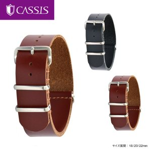 腕時計ベルト バンド 交換 牛革 22mm 20mm 18mm CASSIS TYPE NATO OIL LEATHER 189602S|mano-a-mano