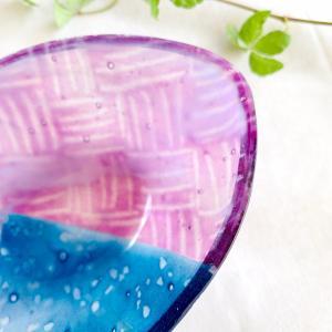 ガラスの器_D6 / フュージング サギング  硝子 キラキラ 手作り 糸島 ガラス作家 島崎弥佳子【ひとつぶの空】|manpuku-kyusyu|02