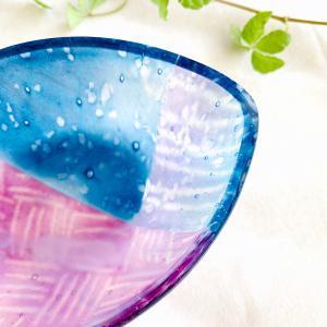 ガラスの器_D6 / フュージング サギング  硝子 キラキラ 手作り 糸島 ガラス作家 島崎弥佳子【ひとつぶの空】|manpuku-kyusyu|03