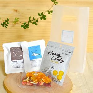 糸島珈琲タイムセット ミニ(C)/ ドリップバッグコーヒー2杯分、季節のフレーバーウォーターミックス1袋、HoneyCandyローヤルゼリー入り1袋|manpuku-kyusyu