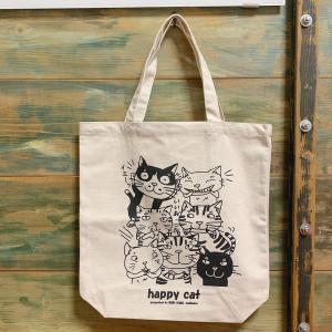キャンパス地トートバッグ「HappyCat」 猫 三毛猫 ぶち猫 おしゃれ猫 かわいい 糸島 送料無料【のび工房】|manpuku-kyusyu
