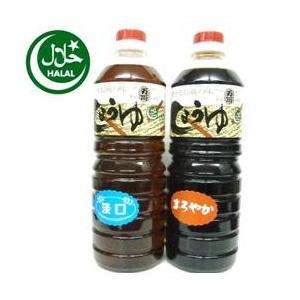 万両味噌醤油醸造元ハラル本醸造まろやか醤油とJAS標準うすくち醤油 1000ml ハラール醤油 送料無料|manryo-store