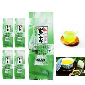 静岡・鹿児島県産 水だし/湯だし 煎茶ティーパック 4gx100袋x5本セット|manryo