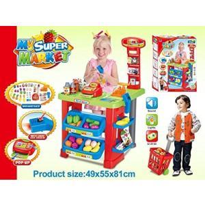 ままごとスーパーマーケットレジスターセット バーコードリーダー小物付き ままごとセット おもちゃままごと 店員さんごっこ|manten-life