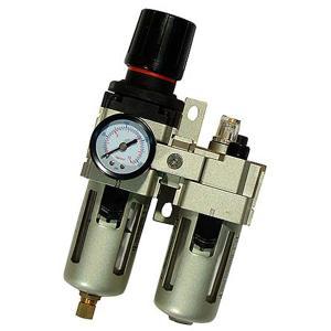圧力調整減圧弁付きのエアフィルター、タンク内に一定量の水が溜まるとコンプレッサーの再起動時に自動的に...