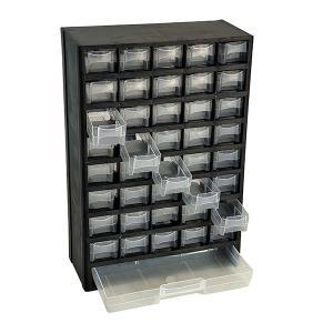 小物パーツの収納に便利な整理棚、大小合わせて41個の引き出しケース。 ガレージの小さい部品の整理整頓...