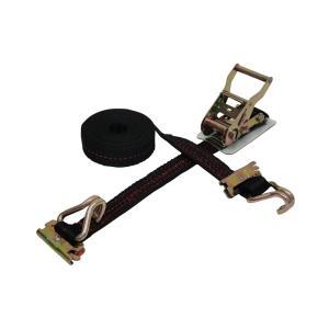 ラッシングベルト黒 トラック用レール1.2ton/WJフック2ton 幅35mm 長さ0.5+4.5m ベルト荷締め機 タイダウンベルト 荷締めベルト|manten-tool
