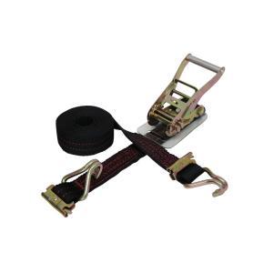 ラッシングベルト黒 トラック用レール2ton/WJフック3ton 幅50mm 長さ0.5+5m ベルト荷締め機 タイダウンベルト 荷締めベルト|manten-tool