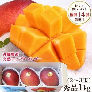 沖縄産 アップルマンゴー 秀品 完熟マンゴー 1kg(2〜3玉入り)贈答用 お中元 送料無料 マンゴー mantenmiyakojima