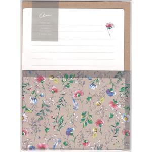 トレーシングペーパーの封筒に花柄をプリントし、透け感のある上品なレターセットになりました。 落ち着き...